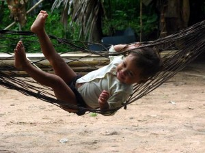 A child swinging in Kroach village