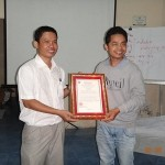 Mr. Pheap provide certificate to trainer
