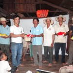 Villagers receiving gifts after the quizz