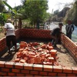 Brick-made fish tank construction in Kamphun village, Stung Treng