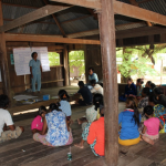 Mrs. Kai Seangly, commune council has interesting to project orientation meeting in Kampong Damrey village Beong Char commune, Sambour district, Kratie province.