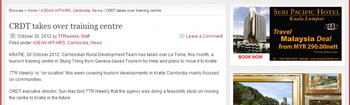 An article about Le Tonlé CRDT's new tourism training center in TTR Weekly